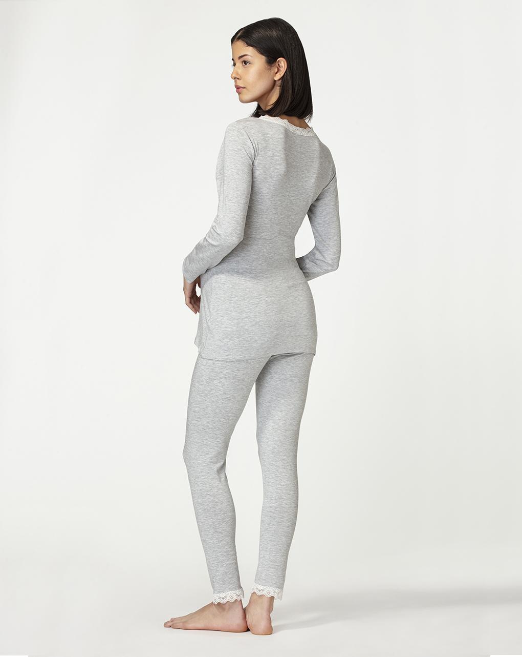 Pijama de enfermagem de mangas compridas com detalhes em renda - Prénatal