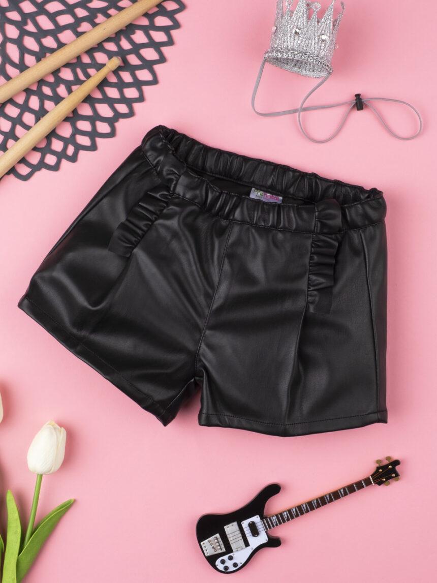 Shorts menina finta pelle preto - Prénatal